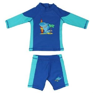 Blue & Aqua Shark UV Sun Protection Rash Vest and Swim Trunks UPF 50+